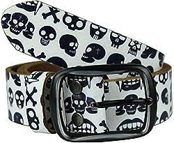 Heepliday Men's Halloween Style Skull Leather Belt Medium (32-34) White