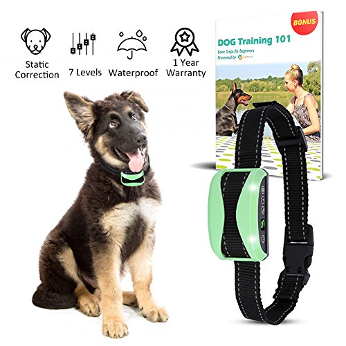 Waterproof Bark Collar + FREE E BOOK, Rechargeable Automatic Training System for Small Large Dog | NO SHOCK, Harmless | Vibration, Beep, Static Correction | 7 Adjustable Levels | Gentle yet Effective