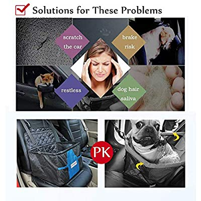 Prodigen Pet Booster Seat, Dog Car Seat for Small Dogs Car Carrier for Small and Medium Pets, Portable and Foldable Dog Booster Seat