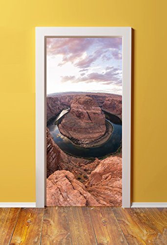 Doorpix 30X80   30 X 80  3D Door Mural Wrap Glossy Bubble Free Sticker Dusk Over Horseshoe Bend Arizona   Peel And Stick   Easy To Clean  Durable