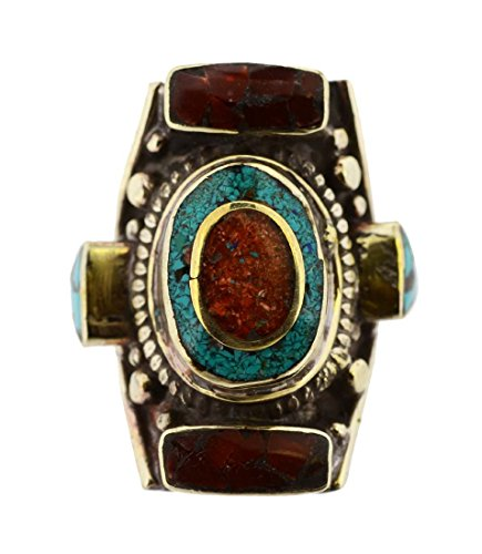 Geometric Chunky Red and Turquoise Colored Stones Tibetan Statement Ring (9)