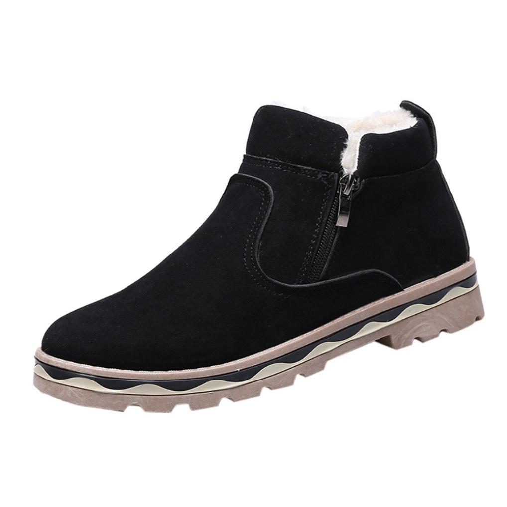 ?Hommes de Martin Bottes Cuir de Combat Flat Sport Chaussures Classiques GongzhuMM Bottines Chaussures Bottines d hiver en Cuir Chaud Neige Cool Sneakers Angleterre Zip Boots GongzhuMM Noir d6b5efd - shopssong.space