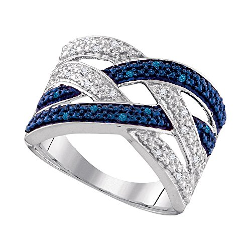 Jewel Tie Size - 7.5-925 Sterling Silver Round Blue And White Diamond Prong Set Curved CrossOver Wedding Band OR Fashion Ring (1/10 cttw.)