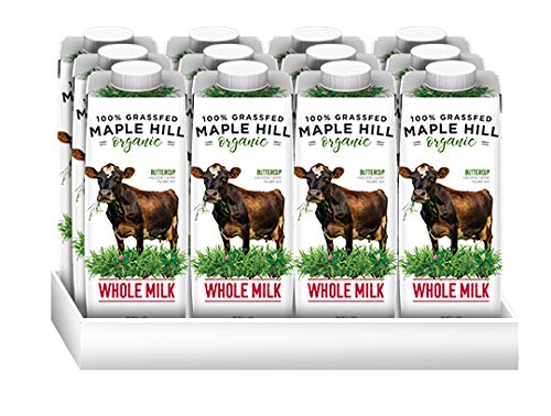 Maple Hill, Shelf Stable Milk, 100% Grass-Fed, Organic- 12pack- 8oz cartons Whole White Milk
