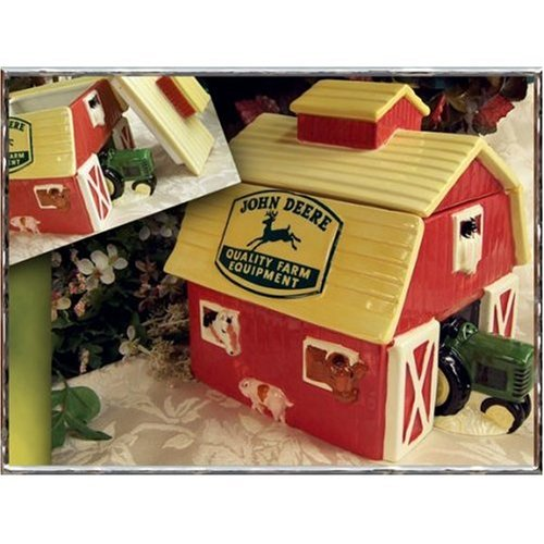 Barn Cookie Jar - John Deere Red Barn with Tractor and Animals Cookie Jar - Collectible for the John Deere Lover!