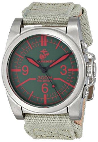 Wrist Armor Men's WA107 C1 Stainless Steel Analog Display Swiss Quartz Watch with Green Canvas Strap