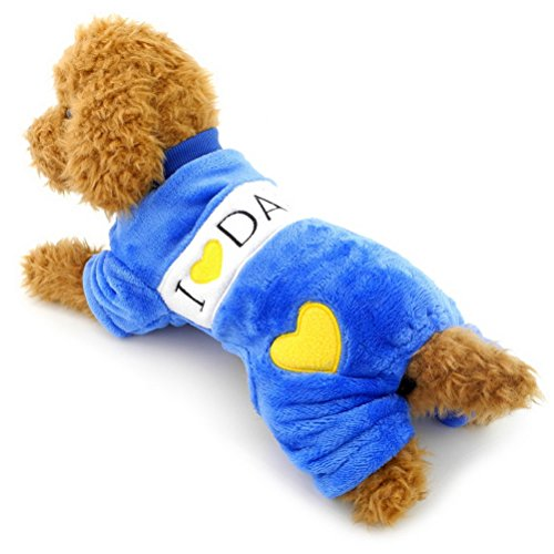 ZUNEA Cozy Small Dog Velvet Pajamas,Puppy Flannel Sweater Thermal Soft Pet Warmer Coat Jumpsuit Winter Jumper I love Mommy Daddy Chihuahua Clothes Outfits Apparel Blue L (Velvet Santa Overalls)