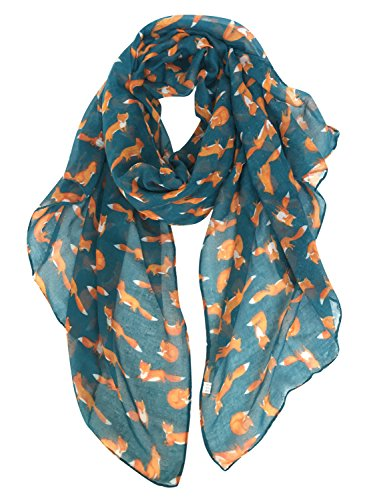 Fox Scarf - GERINLY Fashion Shawl Wrap: Cute Foxes Printed Scarves For Women (Teal)