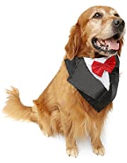 NACOCO Wedding Tuxedo Large Dog Bandana Scarf Adjustable Cat Collar Neckerchief Pet Dress-up Clothes Dog Costumes for Wedding Party or Halloween (Red)