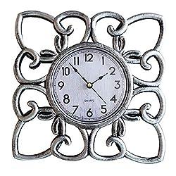SUN-E 10 Inch Silent Non Ticking Modern Retro Wall Clock Decor Wall Clocks Decorative for Home,Office,Square Classic Perfect Wall Decoration (Silver)
