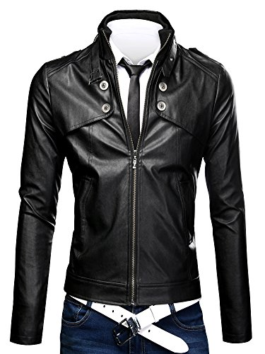 OCHENTA Men's Winter Slim Fit Stand Up Collar Faux Leather Jacket Black Asian size 2XL (US Size L)
