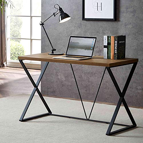 (DYH Computer Desk, Industrial Wood and Metal X Writing Desk, Wood Table for Home Office, 47 inch)