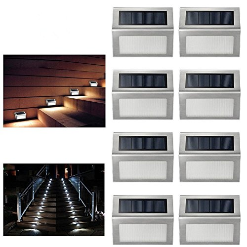 ELECCTV 8 Pack Solar Step Lights 3 LED Solar Powered Stair L