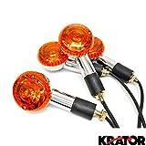 Krator Motorcycle 4 pcs Amber Round Turn Signals Lights For Suzuki Intruder Volusia VS 700 750 800 1400 1500