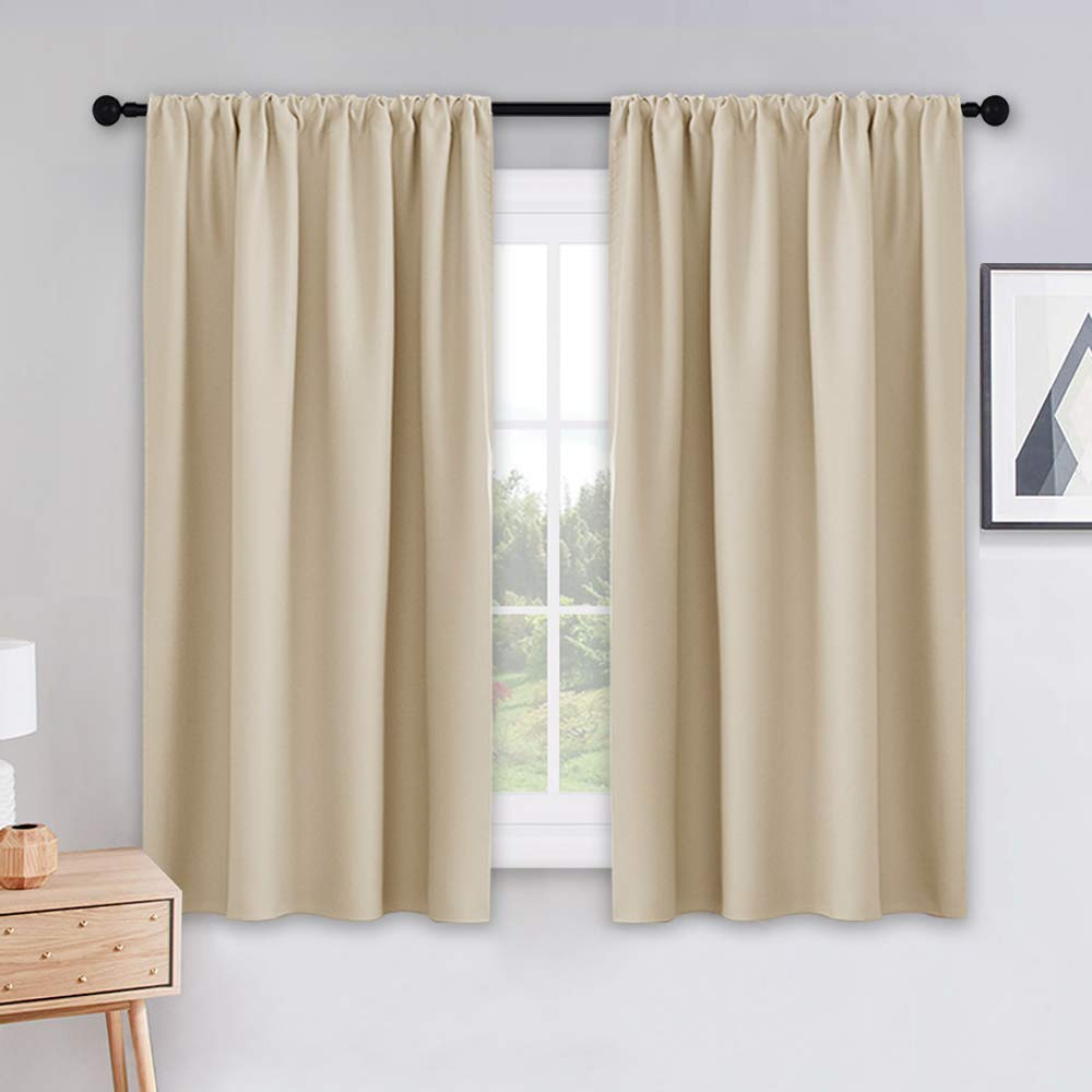 PONY DANCE Beige Kitchen Curtains - Window Treatments Rod Pocket Energy Efficient Blackout Curtain Panels Room Darkening Home Decor for Kids'Room, 42-inch Wide by 45-inch Long, 2 PCs