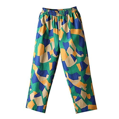 2019 Women Pants,SIN+MON Women's Elastic Waist Capris Pants Cotton Linen Cropped Pants Comfort Straight Wide Leg Trousers