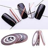 12 Rolls Matte Glitter Nail Striping Tape Set 2Mm Art Transfer Sticker Nail Art Decals Kit 4Pcs Rose Gold Matte