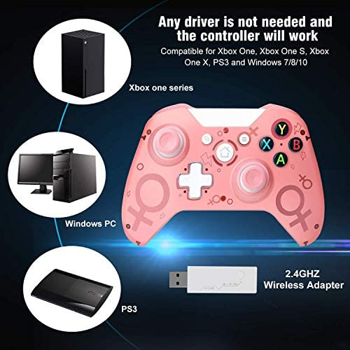 [2020 Newest Version] Wireless Controller, FUXINYA Wireless PC Gamepad with 2.4GHZ Wireless Adapter, Compatible with Xbox One/One S/One X/P3 Host/Windows 7/8/10 (Pink)