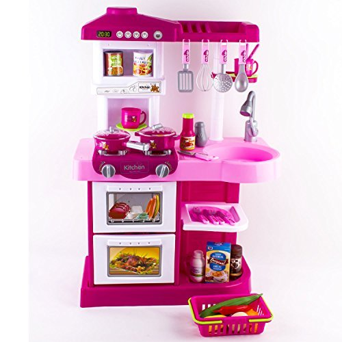 deAO? Children Play Kitchen Set Toy with Play Food and Cooking Accesories (Pink) by deAO by deAO