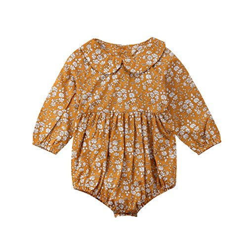 Newborn Baby Girls Floral Print Long Sleeve Round Neck Vintage Romper Infants Ruffles Jumpsuit ()