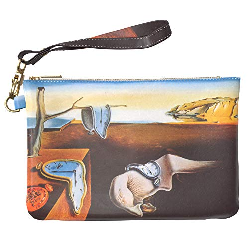 (Lex Altern Makeup Bag 9.5 x 6 inch Art The Persistence of Memory Salvador Dali Melting Clock Purse Pouch Cosmetic Travel PU Leather Case Toiletry Women Zipper Bathroom Storage Wristband Girly Design)