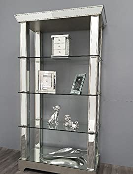 Stunning Mirrored Display Cabinet Large Shelving Unit Tall ...