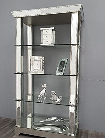 Stunning Mirrored Display Cabinet Large Shelving Unit Tall Venetian Glass  Book Shelf Large Bedroom Living Room