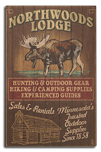 Lantern Press Minnesota - Moose Northwoods Lodge Vintage Sign (10x15 Wood Wall Sign, Wall Decor Ready to Hang)