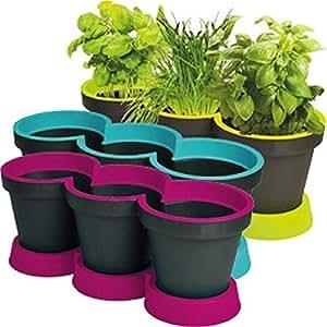 Juego de 3 macetas para hierbas, maceta para flores y plantas, incluye el plato, Gris antracita y verde