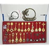 Econoled Rulercosplay Fairy Tail Lucy New Collection Set of 25 Golden Zodiac Keys + Chain