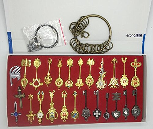 [Econoled Rulercosplay Fairy Tail Lucy New Collection Set of 25 Golden Zodiac Keys + Chain] (Flash Drive Costume)