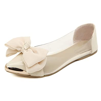 a65bf1ea5f Donalworld Women Ballet Shoe Bow Pointed Tote Comfort Flat Shoes