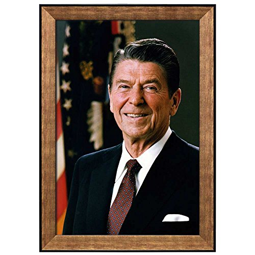 Ronald Portrait Reagan (wall26 - Portrait of Ronald Reagan (40th President of the United States) - American Presidents Series - Framed Art Print Ready to Hang - 16