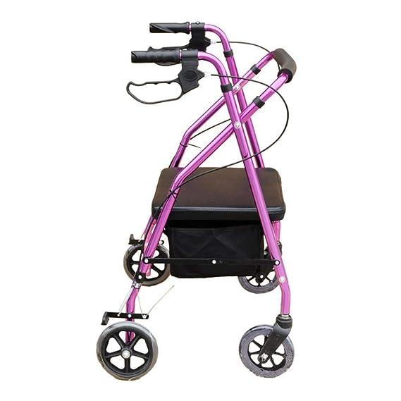 HYRL Caminante Plegable, discapacitados Ancianos Carrito de Cuatro Ruedas Carro Auxiliar Marco de Caminata-púrpura: Amazon.es: Hogar