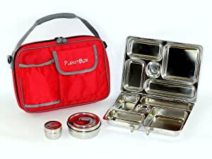 PlanetBox Rover Lunchbox - Red Carry Bag with Rockstar Magnets