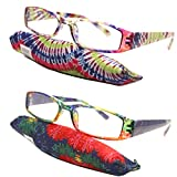 Retro Color Translucent Square 70 80 Men Women Urban Reading Glasses Reader + Storage Pouch (Strength: +2.50)