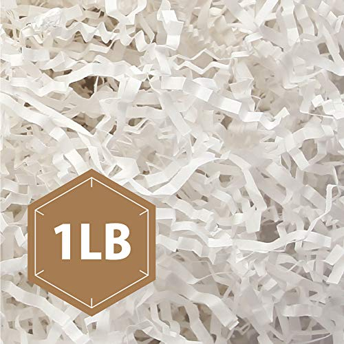 PACKHOME Crinkle Cut Paper Shredded Paper Shred Filler, Premium Quality for Gift Packing and Baskets Filling (1 LB Net Weight, Snow White)