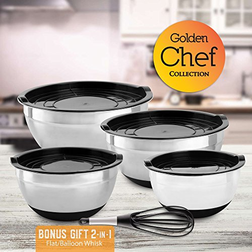 Golden Chef - Stainless Steel Mixing Bowl Set With Tight-Fitting (Sterling Silver Salad Set)