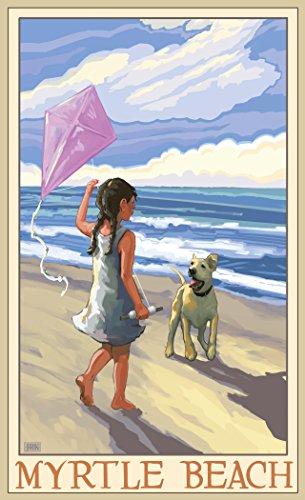 Northwest Art Mall JK-3072 GDB Myrtle Beach Girl Dog Beach 11