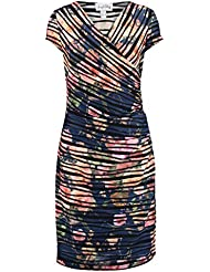 Joseph Ribkoff Multicolored Floral Stripe Reversible Dress