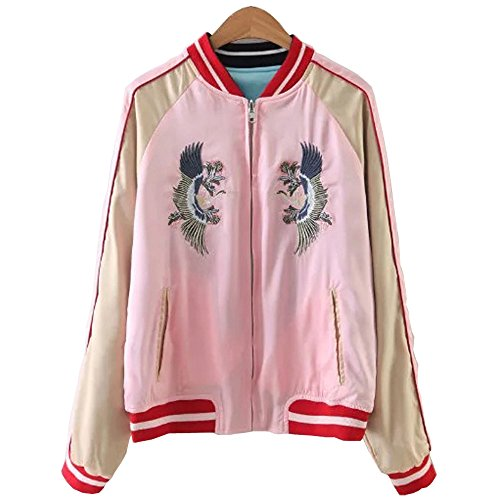 (Viport Women's Reversible Crane Tiger Fujiyama Embroidery Bomber Jacket Japanese Style Pink Blue (Small))