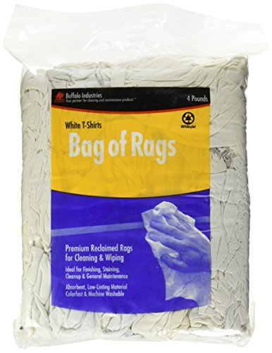 Buffalo Industries 10520PB Recycled White Cloth Tee Shirt Rags in 4-Pound Compressed Poly Bag Paint Rags