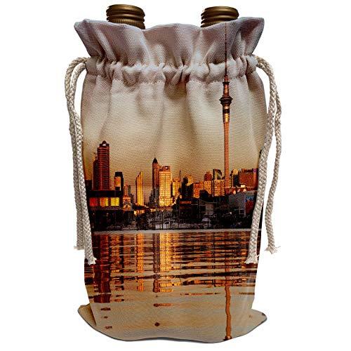 3dRose Danita Delimont - City Skylines - City skyline, Auckland CBD, North Island, New Zealand-AU02 DWA3787 - David Wall - Wine Bag (wbg_71157_1) (Auckland Cbd Auckland)