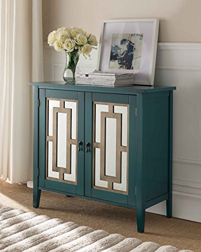 Kings Brand Antique Blue Buffet Server Cabinet/Console Table, Mirrored -