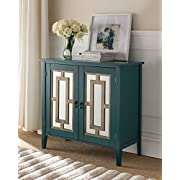 Kings Brand Antique Blue Buffet Server Cabinet/Console Table, Mirrored Doors