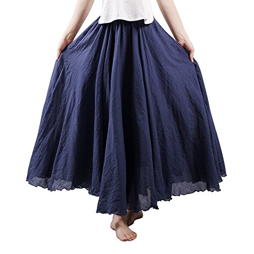 OCHENTA Women's Bohemian Elastic Waist Cotton Floor Length Skirt, Flowing Maxi Big Hem Navy Blue 105CM