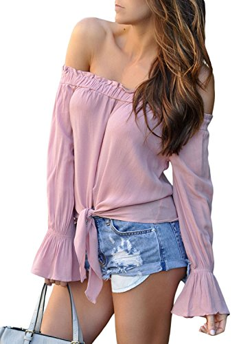 Women's 3/4 Flared Sleeve Tops Solid Color Tie Front Blouses with Ruffle Off Shoulder Loose Shirts Pink XXL