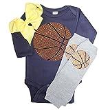 Rhinestone Baby Girls Basketball Navy Outfit, Grey Crystal Leg Warmers & Yellow Bow