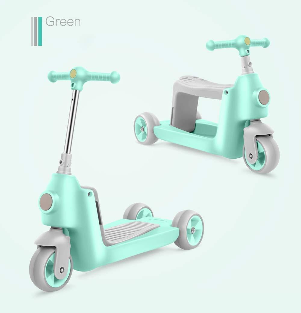 Runplayer 子供のスリーインワンスクーターに適しています、座席を持ち上げることができます、三輪車のスクーターに乗るか、または乗ることができます ( Color : Green )   B07R29BP52, ミッカビチョウ 1a826edc