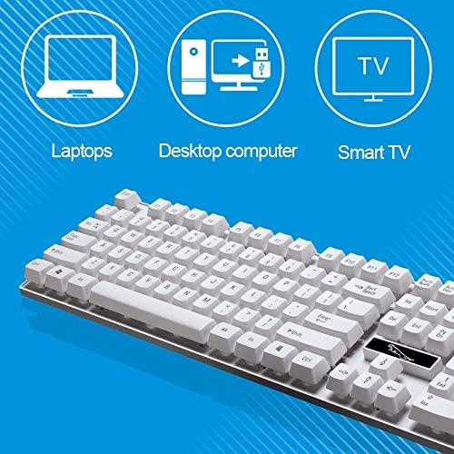 Color : White PC Durable XIAOMIN ZGB Q17 104 Keys USB Wired Suspension Gaming Office Keyboard for Laptop